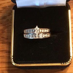 Jewelry - Beautiful Marquise & Diamond Wedding Set 14k